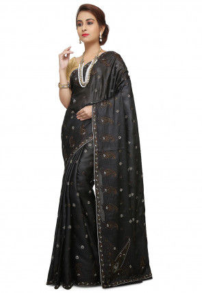 Pure Tussar Silk Banarasi Saree in Black