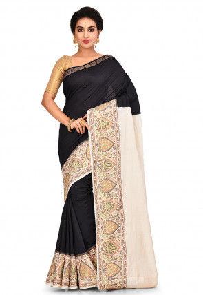 Pure Tussar Silk Banarasi Saree in Black