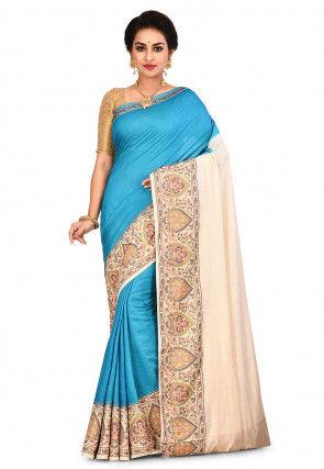 Pure Tussar Silk Banarasi Saree in Blue