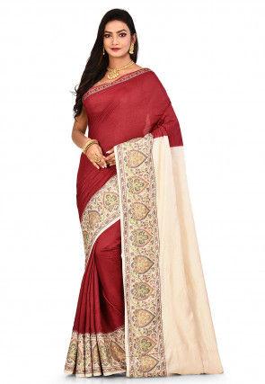 Pure Tussar Silk Banarasi Saree in Maroon