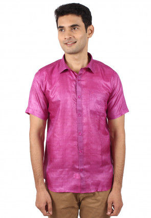 Pure Tussar Silk Shirt in Light Purple