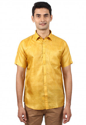 Pure Tussar Silk Shirt in Yellow