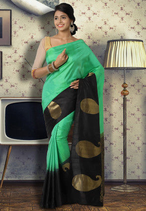 Pure Uppada Silk Saree in Light Green and Black