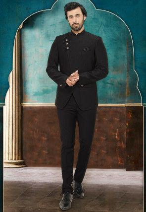 Quilted Art Silk Jodhpuri Suit in Black