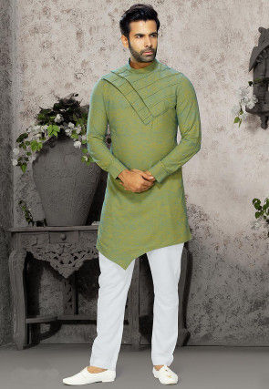Quilted Cotton Kurta Set in Green