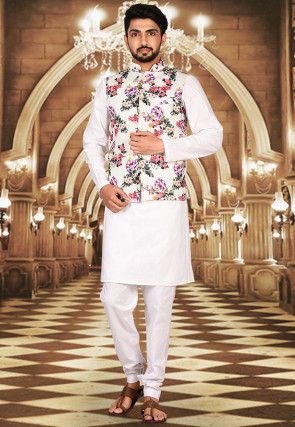 Quilted Linen Kurta Jacket Set in Off White