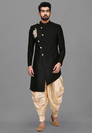 Quilted Embroidered Art Silk Asymmetric Dhoti Sherwani in Black
