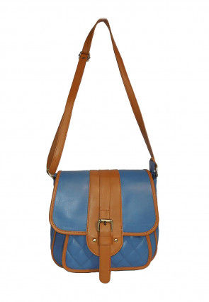 Quilted Leather Envelope Sling Bag in Blue