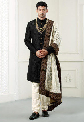 Quilted Polyester Sherwani in Black