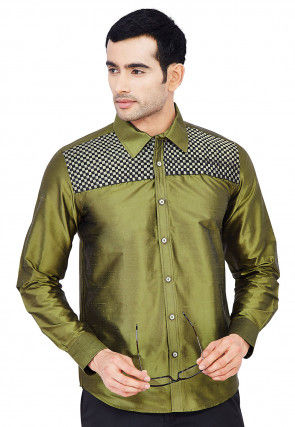 Quilted Raw Silk Shirt in Olive Green