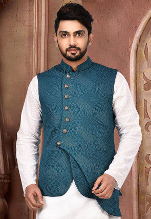 Quilted Scuba Asymmetric Nehru Jacket in Teal Blue