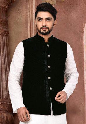 Quilted Velvet Nehru Jacket in Dark Blue