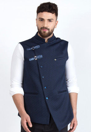 Quilted Viscose Rayon Asymmetric Nehru Jacket in Navy Blue