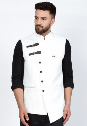 Quilted Viscose Rayon Asymmetric Nehru Jacket in White