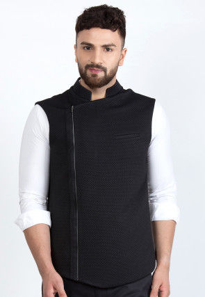 Quilted Viscose Rayon Nehru Jacket in Black
