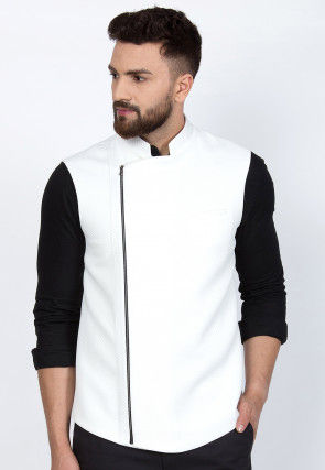 Quilted Viscose Rayon Nehru Jacket in White