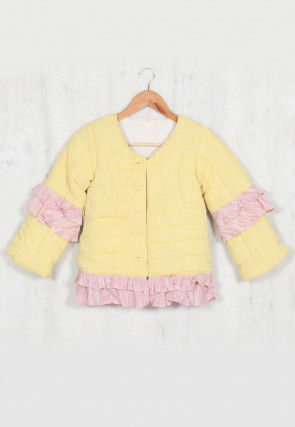Quilting Cotton Quilting Frilled Kids Jacket in Yellow