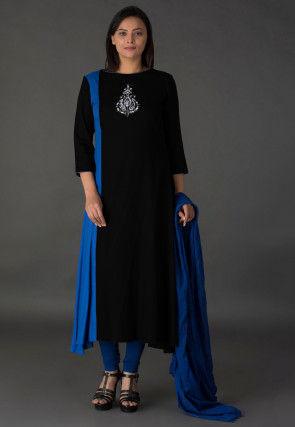 Resham Rayon Slub A Line Suit in Black and Blue