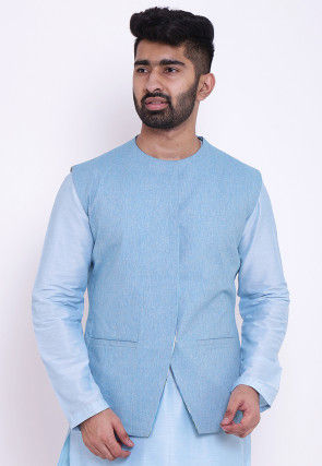 Reversible Linen Cotton Reversable Nehru Jacket in Sky Blue