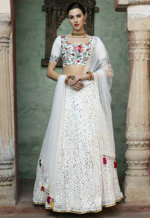 Rubber Printed Georgette Lehenga in Off White