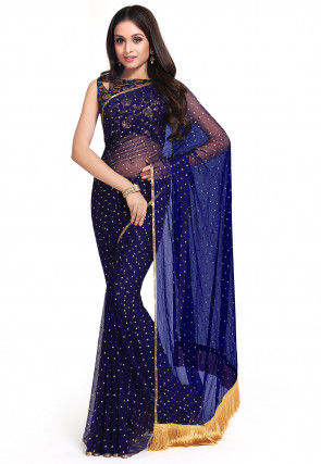 Rubber Printed Georgette Saree in Navy Blue