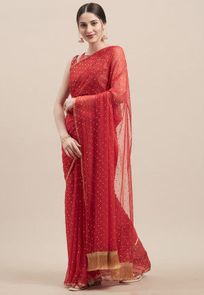 Rubber Printed Georgette Saree in Red