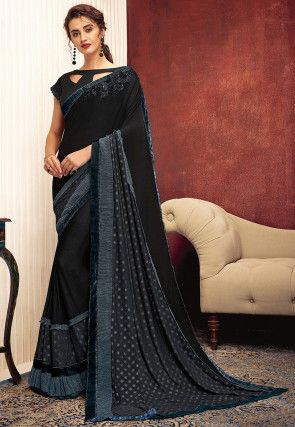 Rubber Printed Lycra Saree in Charcoal Black