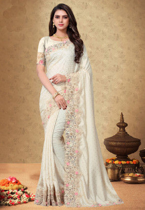 Rubber Printed Satin Georgette Saree in Off White