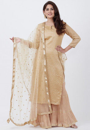 Rubber Printed Satin Pakistani Suit in Beige