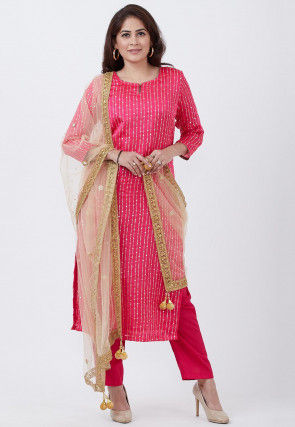 Rubber Printed Satin Pakistani Suit in Magenta