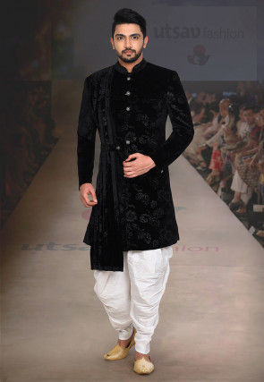 Rubber Printed Velvet Dhoti Sherwani in Black