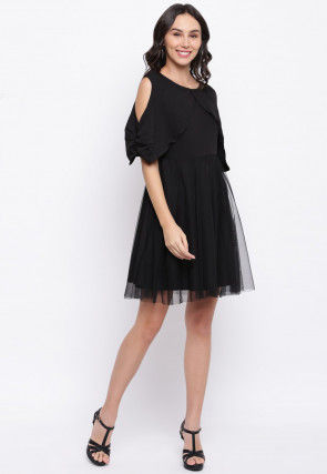 Ruched Sleeves Net Short Dress in Black
