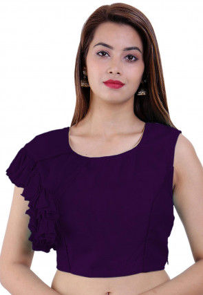Ruffled Art Dupion Silk and Faux Georgette Blouse in Purple