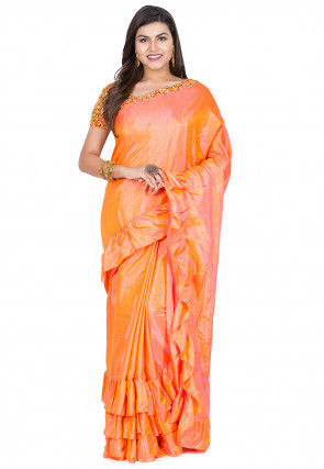 Ruffled Art Silk Saree in Orange