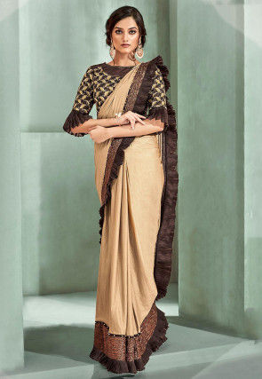 Ruffled Butterfly Pallu Lycra Saree in Beige