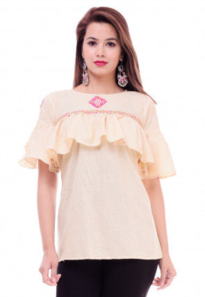 Ruffled Cotton Top in Light Beige