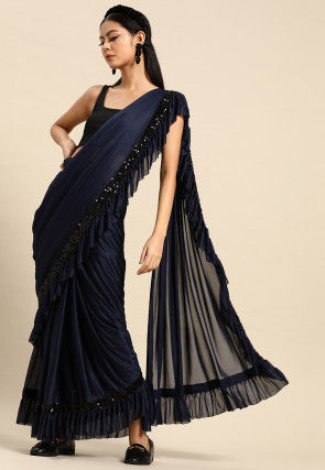 Ruffled Crepe Saree in Navy Blue