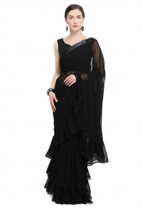 Ruffled Georgette Saree in Black