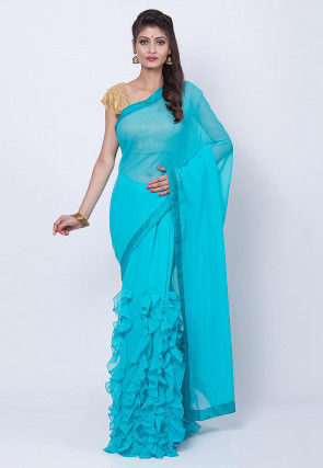 Ruffled Georgette Saree in Turquoise
