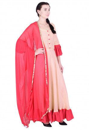 Ruffled Hemline Uppada Silk Abaya Style Suit in Light Peach