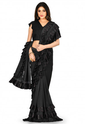 Ruffled Lycra Saree in Black