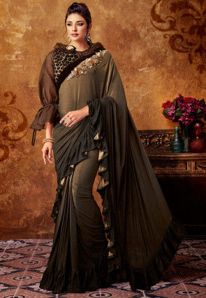 Ruffled Lycra Saree in Brown Ombre