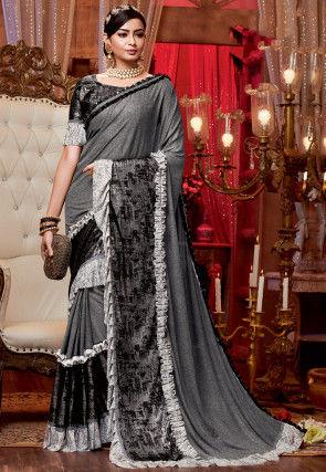 Ruffled Lycra Saree in Grey
