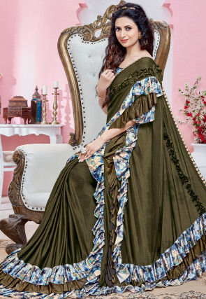 Ruffled Lycra Saree in Olive Green