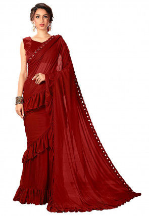 Ruffled Lycra Saree in Red