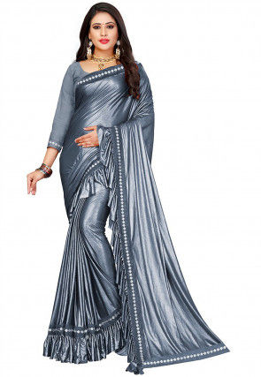 Ruffled Lycra Shimmer Saree in Silver