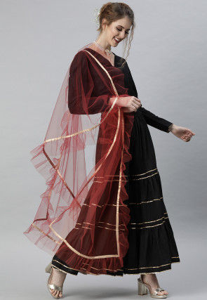 Ruffled Net Dupatta in Maroon
