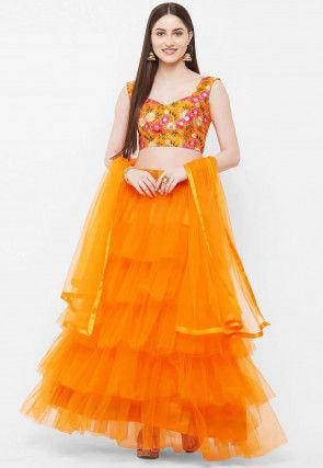 Ruffled Net Lehenga in Orange