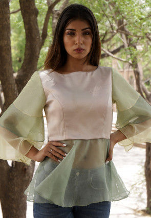Ruffled Net Peplum Style Top in Light Beige and Light Olive Green