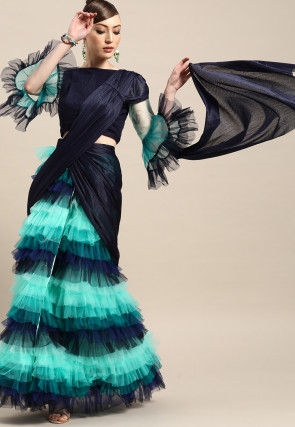 Ruffled Net Pre-stitched Saree in Navy Blue and Sea Green